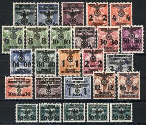 14-39 Polen mit Aufdruck 1940, 26 Werte, kompletter Satz ** postfrisch