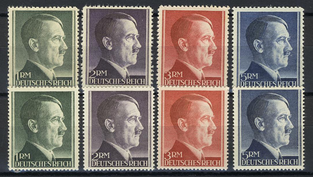 799-802 A/B Hitler alle Markwerte WEIT und ENG gezähnt - ** postfrisch / MNH 0