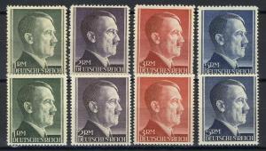 799-802 A/B Hitler alle Markwerte WEIT und ENG gezähnt - ** postfrisch / MNH