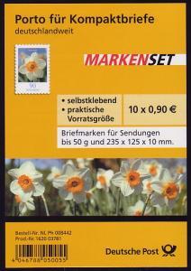 FB 1c Narzisse Folienblatt 10x2515 Nr. 1620 03781, ohne Punkt, **