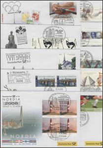 Ausstellungsbelege Jahrgang 2008 Nr. 127 bis 136 komplett mit 10 Belegen