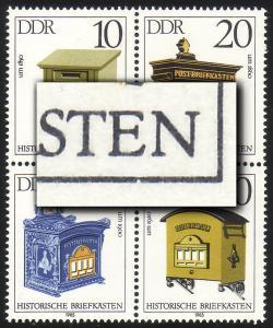 2924-2927 Briefkästen-Zusammendruck mit PLF 2927 Rahmenkerbe, Feld 34 **