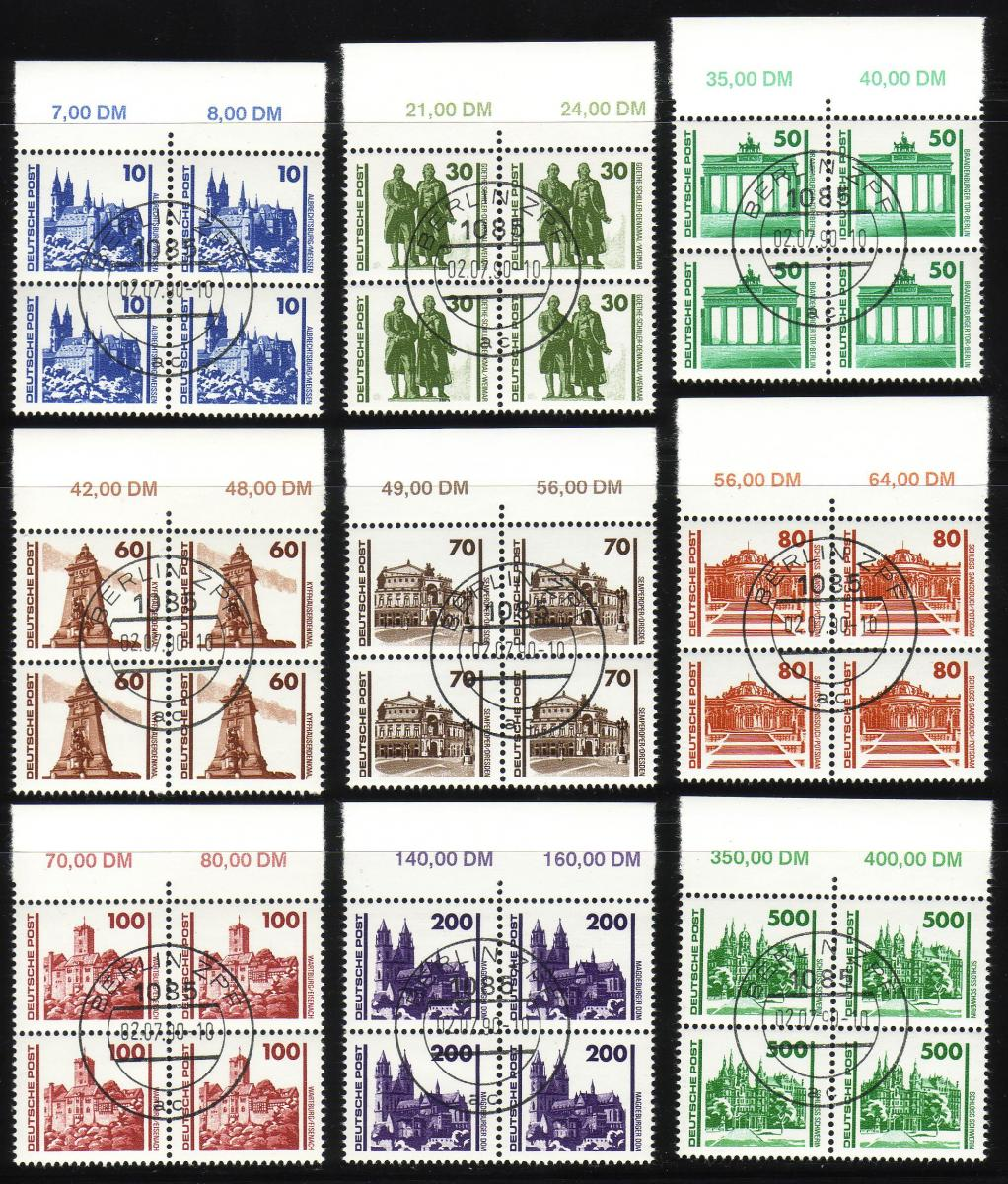 3344-3352 Bauwerke 1990, Satz im Oberrand-Viererblock gestempelt VS-O Berlin ZPF 0