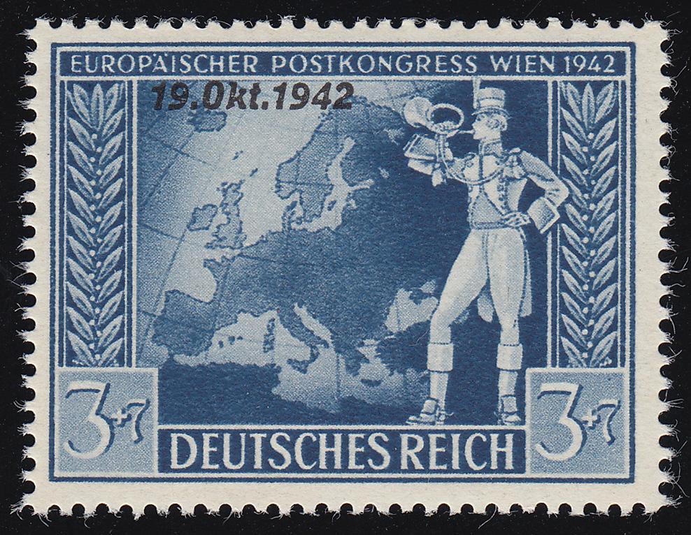 823 Postkongreß 3 Pf mit PLF unten abgeschrägtes k in Oktober, Feld 27, ** 0