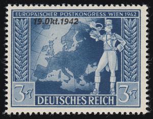 823 Postkongreß 3 Pf mit PLF unten abgeschrägtes k in Oktober, Feld 27, **