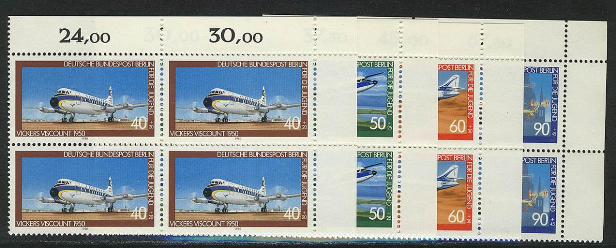617-620 Jugend Luftfahrt 1980, E-Vbl o.r. Satz ** 0