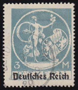 134I Bayern Abschiedsserie mit Aufdruck, 3 M(ark), gestempelt O