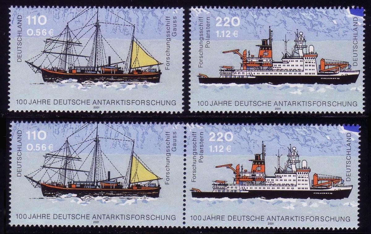 2229-2230 aus Block 57 Antarktisforschung, 1 ZD und 2 EZM, Zusammendruck-Set ** 0