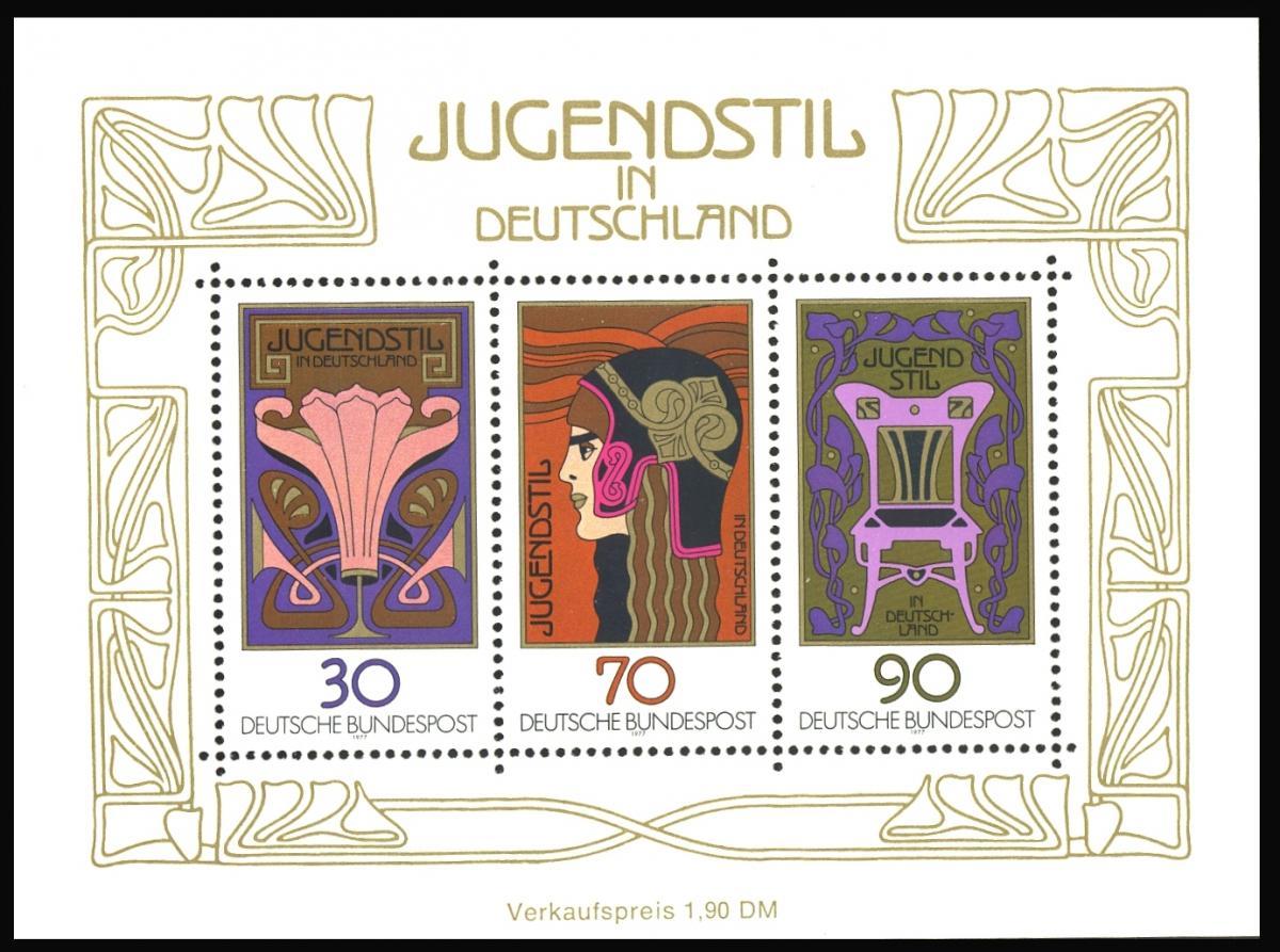 Block 14I Jugendstil 1977 mit PLF I Linienbruch beim 30-Pfennig-Wert, ** 1