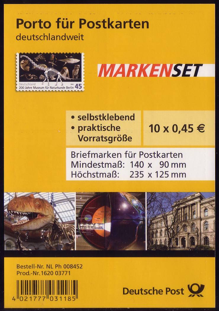 FB 5a Museum Berlin, Folienblatt 10x2780 Nr. 1620 03771, ** 0