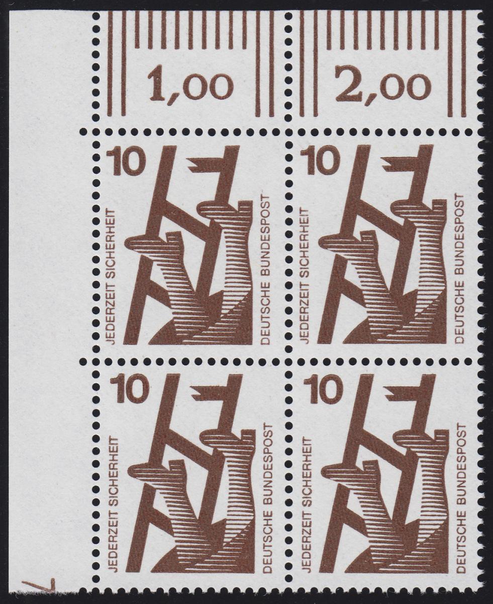 695 Unfallverhütung 10 Pf ** DZ 7, Feld 11, Eck-Vbl. 0