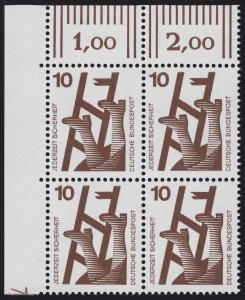 695 Unfallverhütung 10 Pf ** DZ 7, Feld 11, Eck-Vbl.