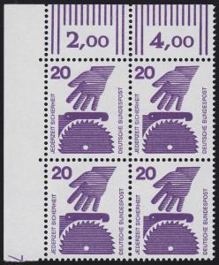 696 Unfallverhütung 20 Pf ** DZ 7 Feld 11, Eck-Vbl.