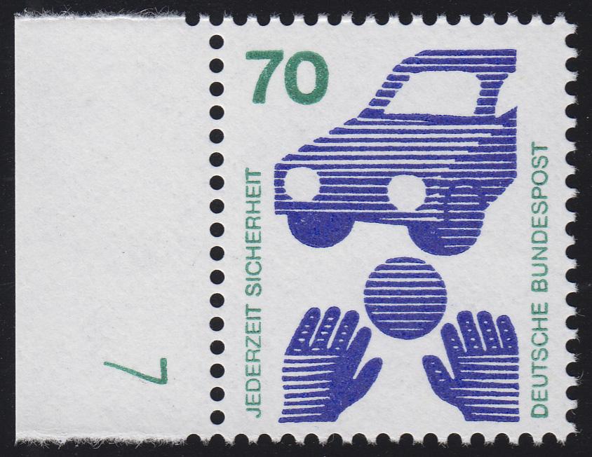 773 Unfallverhütung 70 Pf Ball ** DZ 7 grün, Einzelmarke 0