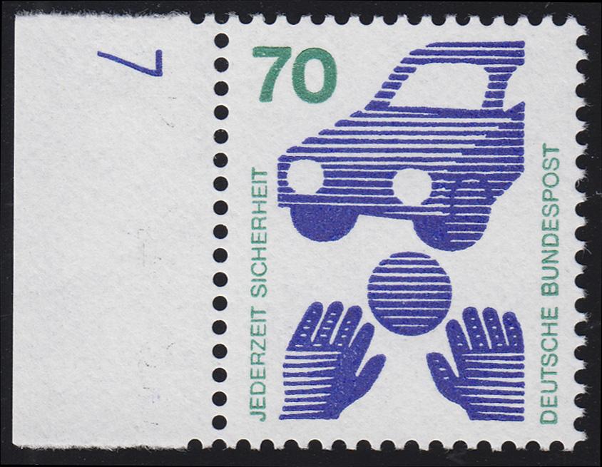773 Unfallverhütung 70 Pf Ball ** DZ 7 blau, Einzelmarke 0