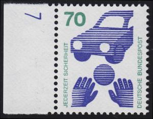 773 Unfallverhütung 70 Pf Ball ** DZ 7 blau, Einzelmarke