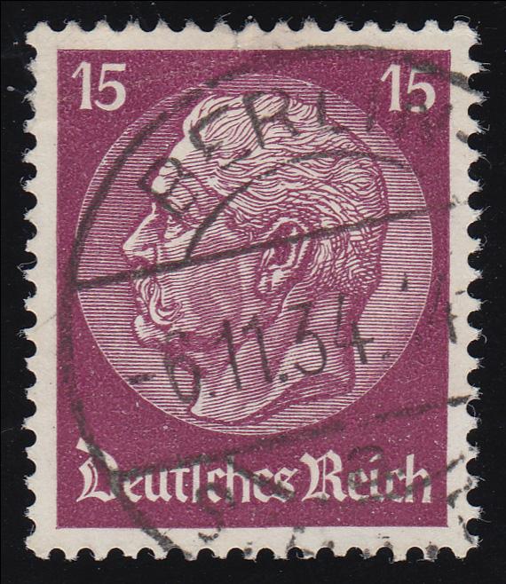 488 Hindenburg 15 Pf. WZ Waffeln O 0