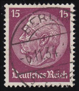488 Hindenburg 15 Pf. WZ Waffeln O