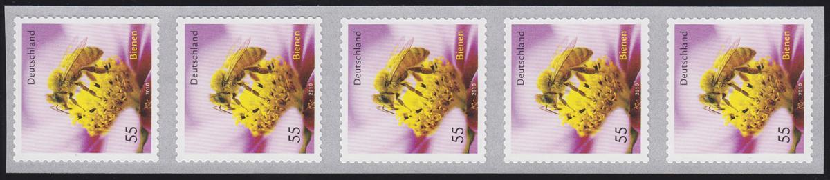 2799 Honigbiene sk 5er-Streifen mit GERADER Nummer ** 0