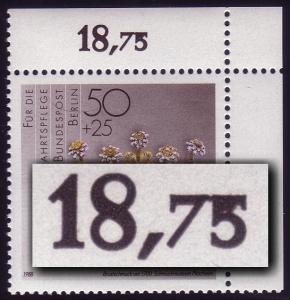 818 Wofa 50 Pf. - verkleckster Reihenwertzähler, **