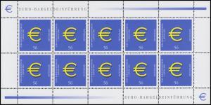 2234 Euroeinführung Münzen und Banknoten 2002 - 10er-Bogen, postfrisch **
