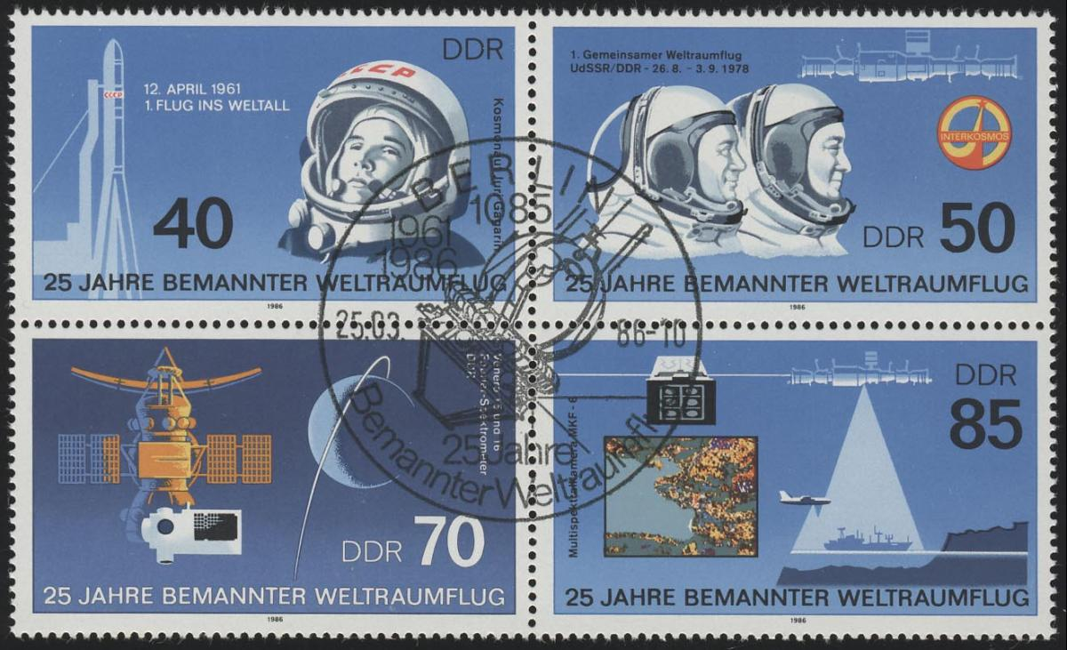 3005-3008 Weltraumflug 1986, Viererblock, ESSt Berlin 0