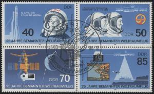 3005-3008 Weltraumflug 1986, Viererblock, ESSt Berlin