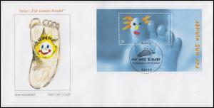 Block 60 Für uns Kinder - Kinderfuß 2002, FDC mit ESSt Bonn 5.9.2002