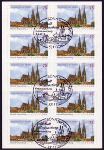 FB 14a UNESCO Regensburg, Folienblatt 10x2580, Prod.-Nr.: 1620 20111, EV-O Bonn