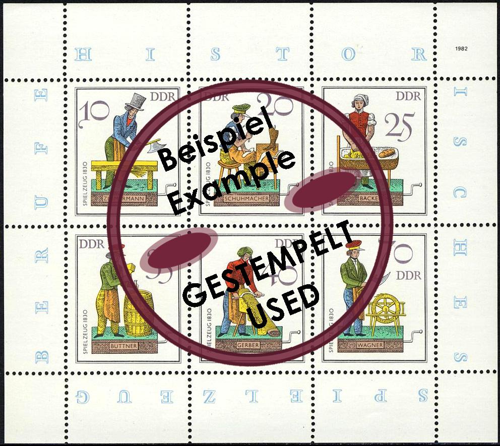 2758-63 Spielzeug-Kleinbogen 1982, mit Tagesstempel 0
