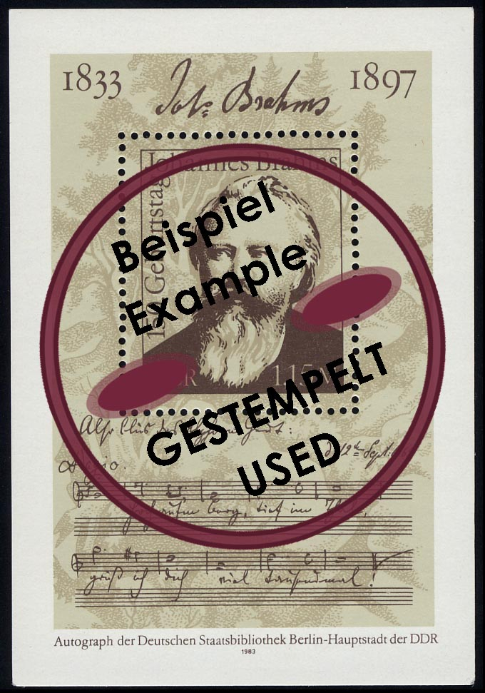 Block 69 Johannes Brahms 1983, mit Tagesstempel 0