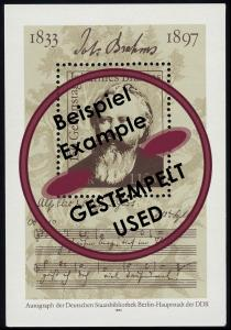 Block 69 Johannes Brahms 1983, mit Tagesstempel