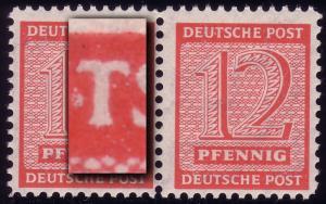119BX Ziffern 12 Pf Postmeister Paar mit PLF I, ** postfrisch geprüft Jasch BPP