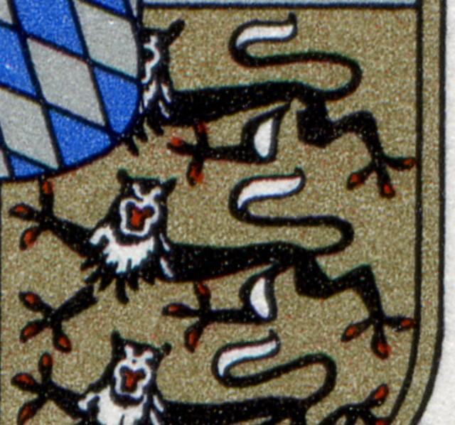 1587 Bayern: Eckrand-6er-Block mit 3 PLF auf den Feldern 1+6+8 2