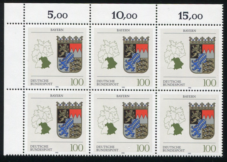 1587 Bayern: Eckrand-6er-Block mit 3 PLF auf den Feldern 1+6+8 3