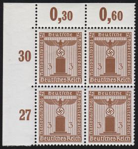 156y Parteidienstmarke 3 Pf. WAAGERECHT geriffelt, Eck-Vbl. o.l. postfrisch **