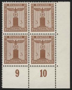 156y Parteidienstmarke 3 Pf. WAAGERECHT geriffelt, ER-Vbl. unten rechts, **