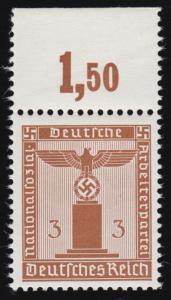 156yP OR Parteidienstmarke 3 Pf. WAAGERECHT geriffelt, Oberrand-Stück, **