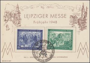 967-968 Leipziger Messe auf Messe-Karte Frühjahr 1948 ESSt LEIPZIG 2.3.48