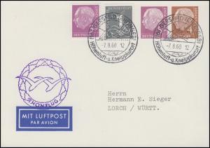 PP 12/1 Heuss 5/4 Pf mit Heuss-Zufr. SSt Gersfeld 7.8.60 & Rhönflug-Stempel