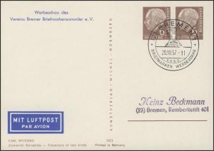 PP 13 Heuss 6/6 Pf Carl Spitzweg: Zweierlei Reisende, SSt Bremen 20.10.57
