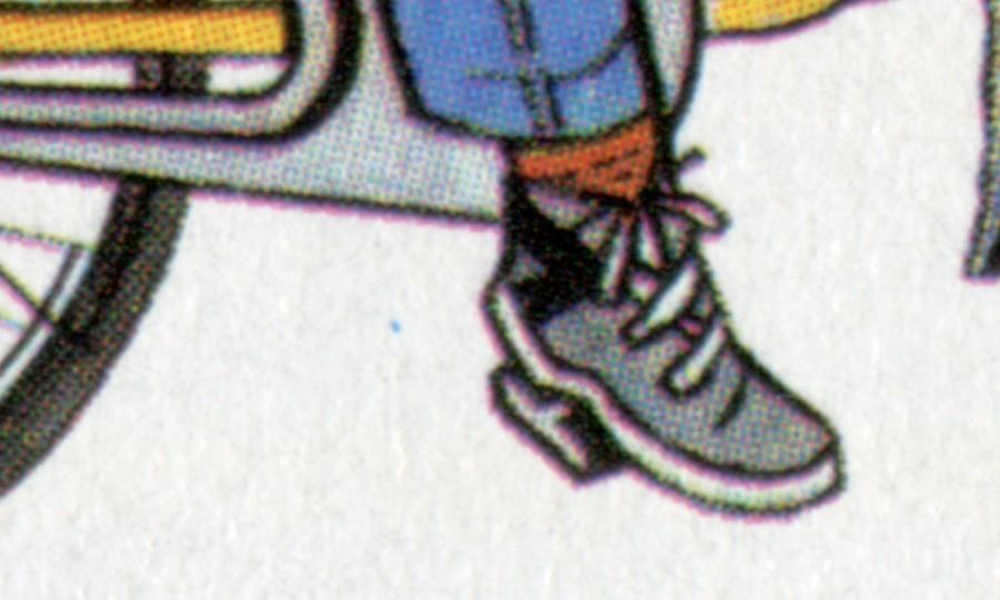 1814 Tag der Briefmarke 1995 - 10er-Bogen PLF Punkt neben Schuh, Feld 4, ** 0