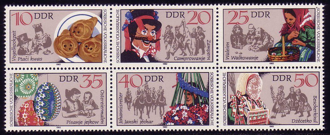 2716-2721 Zusammendruck Sorbische Volksbräuche, Sechserblock postfrisch ** 0