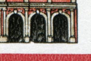 2869 Denkmalspflege 10 Pf: Kerbe unten im 2. Torbogen von rechts, Feld 15 **