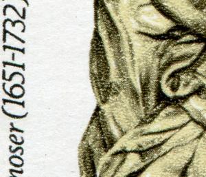 2905 Kunstwerke 10 Pf mit PLF: dunkler Fleck im Umhang, Feld 21 **