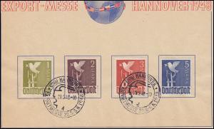 959-962 Freimarken 1 bis 5 Mark, Mark-Werte auf Messe-Blatt SSt HANNOVER 29.5.48