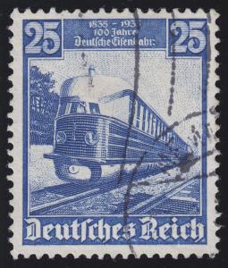 582I Eisenbahn 25 Pf mit PLF I gebrochenes n in -bahn, Feld 18, gestempelt