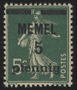 Memel 18c Aufdruck fett 5 Pf. auf 5 C, GC-Papier, ** postfrisch