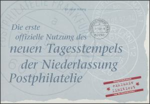 Neuer Tagesstempel NL Postphilatelie Frankfurt 1997, Block 39 dokumenta Kassel