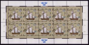2022 Tag der Briefmarke Postjacht Hiorten: sehr stark verzähnter Kleinbogen **